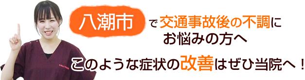 八潮市・草加市・東京都足立区で交通事故後の不調にお悩みの方へ このような症状の改善はぜひ当院へ