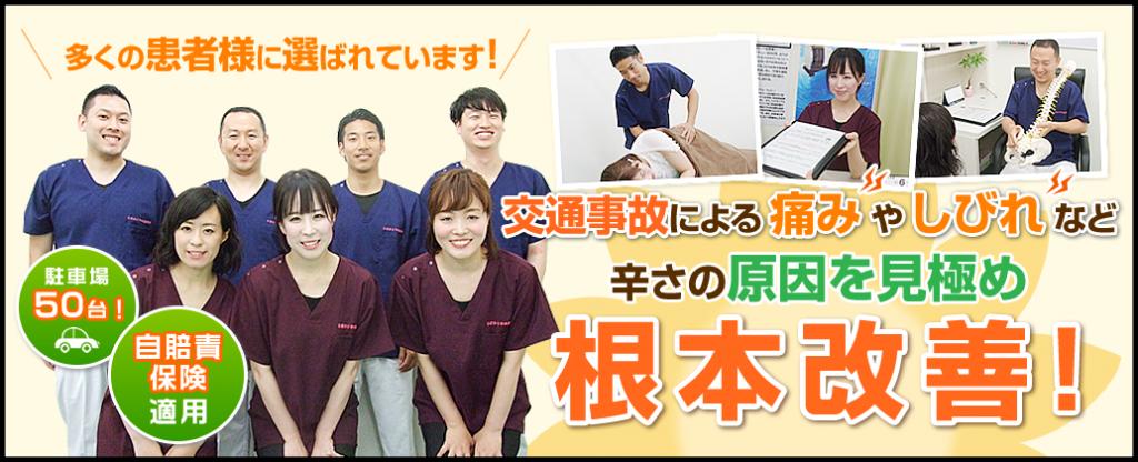 埼玉県八潮市、草加市、三郷市、東京都足立区を中心に、ひまわり中央整骨院は交通事故治療・腰痛治療・むち打ち治療・坐骨神経痛・ヘルニアなどの治療で多くの患者様が来院されております。
